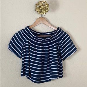 Topshop blue striped cropped off shoulder top 2